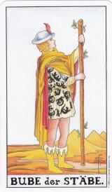 Bube der Stäbe, Tarot, Wahrsagekarte